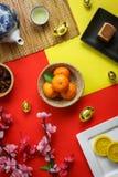 Imagen aérea de la visión superior del Año Nuevo chino de la decoración del arreglo Imagen de archivo