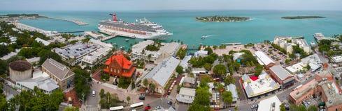 Imagen aérea de Mallory Square Key West FL foto de archivo