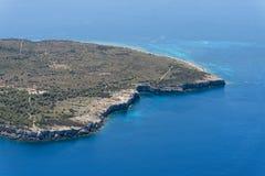 Imagen aérea de paisajes en Isola di Pianosa imágenes de archivo libres de regalías