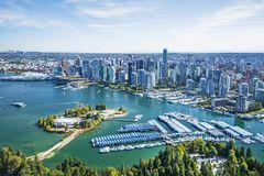 Imagen aérea de Vancouver, A.C., Columbia Británica, Canadá Imagen de archivo libre de regalías