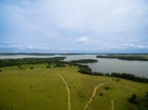 Imagen aérea del lago, parque nacional Congo de Conkouati Imagenes de archivo