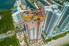 Imagen aérea del ne de Ritz Carlton Residences Sunny Isles Beach foto de archivo libre de regalías