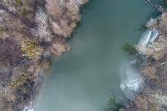 Imagen aérea del río congelado Imagen de archivo libre de regalías