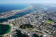 Imagen aérea granangular de Perth, Australia Imagenes de archivo