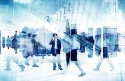 Imagen abstracta de la vida ocupada de la gente de negocio Imagen de archivo