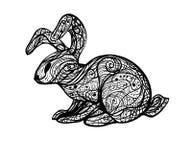 Imagen abstracta de un conejo salvaje en líneas blancos y negros onduladas ilustración del vector