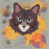 Imagen abstracta de un gato con una bola del hilado Imagen de archivo libre de regalías