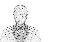 Imagen abstracta de un hombre de negocios en traje bajo la forma de cielo o espacio estrellado, consistiendo en puntos, líneas, y ilustración del vector