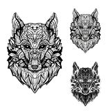Imagen abstracta de un lobo para los tatuajes y la impresión en el papel Fotos de archivo
