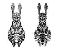 Imagen abstracta de una liebre salvaje en un fondo blanco libre illustration