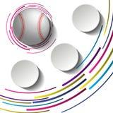 Imagen abstracta del béisbol con tres placas de papel en blanco y bolas 3d libre illustration
