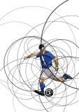 Imagen abstracta del jugador de fútbol con la bola Imagen de archivo