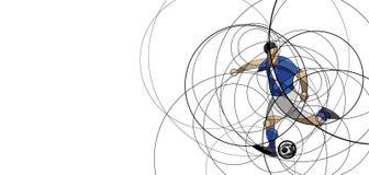 Imagen abstracta del jugador de fútbol con la bola Foto de archivo