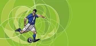 Imagen abstracta del jugador de fútbol con la bola Fotografía de archivo