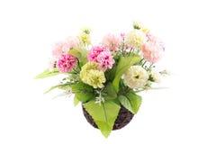 Imagen aislada de la flor falsa con el florero en el fondo blanco Fotos de archivo libres de regalías