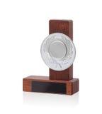 Imagen aislada de un trofeo del od hecho de la madera Imágenes de archivo libres de regalías
