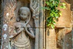Imagen antigua de la muchacha del Khmer Imagen de archivo libre de regalías