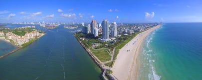Imagen aérea panorámica Miami Beach Imágenes de archivo libres de regalías