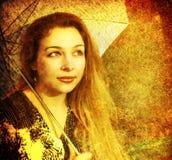 Imagen artística de la mujer pensativa romántica imagenes de archivo
