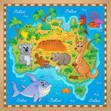 Imagen australiana 2 del tema del mapa Imágenes de archivo libres de regalías
