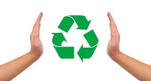 Imagen, ayuda y cuidado conceptuales para reciclar. Fotos de archivo libres de regalías