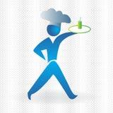 Imagen azul del vector del símbolo del icono del cocinero de la camarera del logotipo stock de ilustración