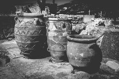 Imagen blanco y negro de grandes floreros antiguos Fotos de archivo libres de regalías