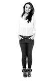 Imagen blanco y negro de la muchacha adolescente Fotografía de archivo libre de regalías