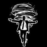 Imagen blanco y negro de un hombre en un traje que va antes de un tornado siniestro, malvado Foto de archivo