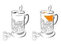 Imagen blanco y negro de un vidrio en un vidrio-tenedor libre illustration