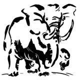 Imagen blanco y negro del elefante imagenes de archivo