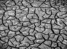 Imagen blanco y negro del fondo de la suciedad agrietada seca del suelo o imágenes de archivo libres de regalías