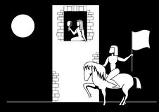 Imagen blanco y negro del vector una belleza en una torre y un héroe en un lomo de caballo ilustración del vector