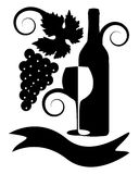 Imagen blanco y negro del vino Imagen de archivo libre de regalías