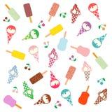 Imagen colorida de diversas clases de helado delicioso stock de ilustración