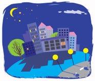 Imagen colorida de la ciudad de la noche Fotos de archivo