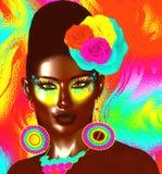 Imagen colorida del arte pop de la cara del ` s de la mujer con las flores en pelo libre illustration