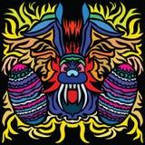 Imagen colorida del conejito de pascua con dos huevos en pocilga del arte abstracto libre illustration