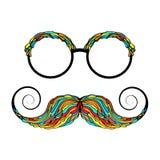 Imagen colorida del vidrio y del bigote del hombre stock de ilustración