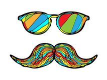 Imagen colorida del vidrio y del bigote del hombre ilustración del vector