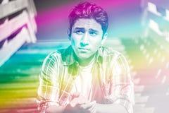 Imagen colorida surrealista de un hombre joven Fotografía de archivo