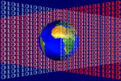 Imagen común de la tierra en código binario Foto de archivo libre de regalías