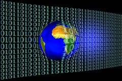 Imagen común de la tierra en red del código binario Imagen de archivo
