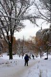 Imagen común de un invierno que nieva en Boston, Massachusetts, los E.E.U.U. Imagen de archivo libre de regalías