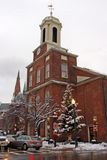 Imagen común de un invierno que nieva en Boston, Massachusetts, los E.E.U.U. Imagen de archivo