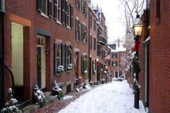 Imagen común de un invierno que nieva en Boston, Massachusetts, los E.E.U.U. Foto de archivo libre de regalías