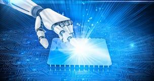 imagen compuesta 3D del brazo blanco del robot que señala en algo