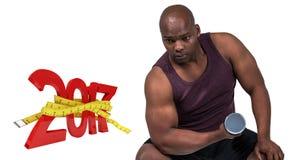 imagen compuesta 3D del hombre del ajuste que ejercita con pesas de gimnasia Imagen de archivo libre de regalías