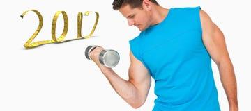 imagen compuesta 3D del hombre joven del ajuste que ejercita con pesa de gimnasia Imagenes de archivo