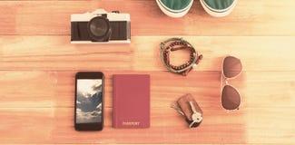 Imagen compuesta de accesorios que viajan y de diversos artículos Foto de archivo libre de regalías